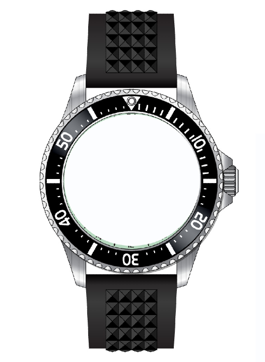 316L精钢100度防水蓝宝石玻璃钢壳高档潜水表D0401