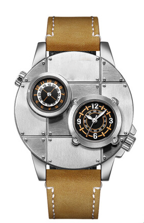 43mm表盘欧美个性双机芯双时区石英男士手表